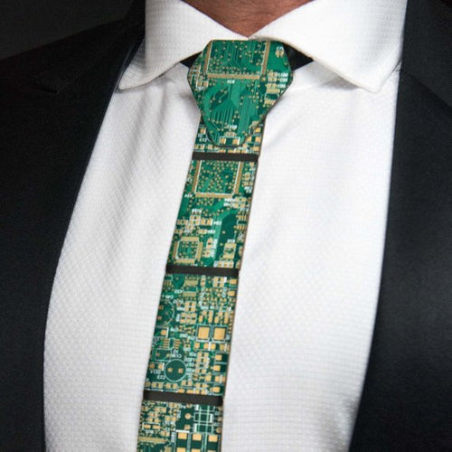 Green Circuit Board Necktie - REAL Circuit Board - 100% Recycled - by TechWears
