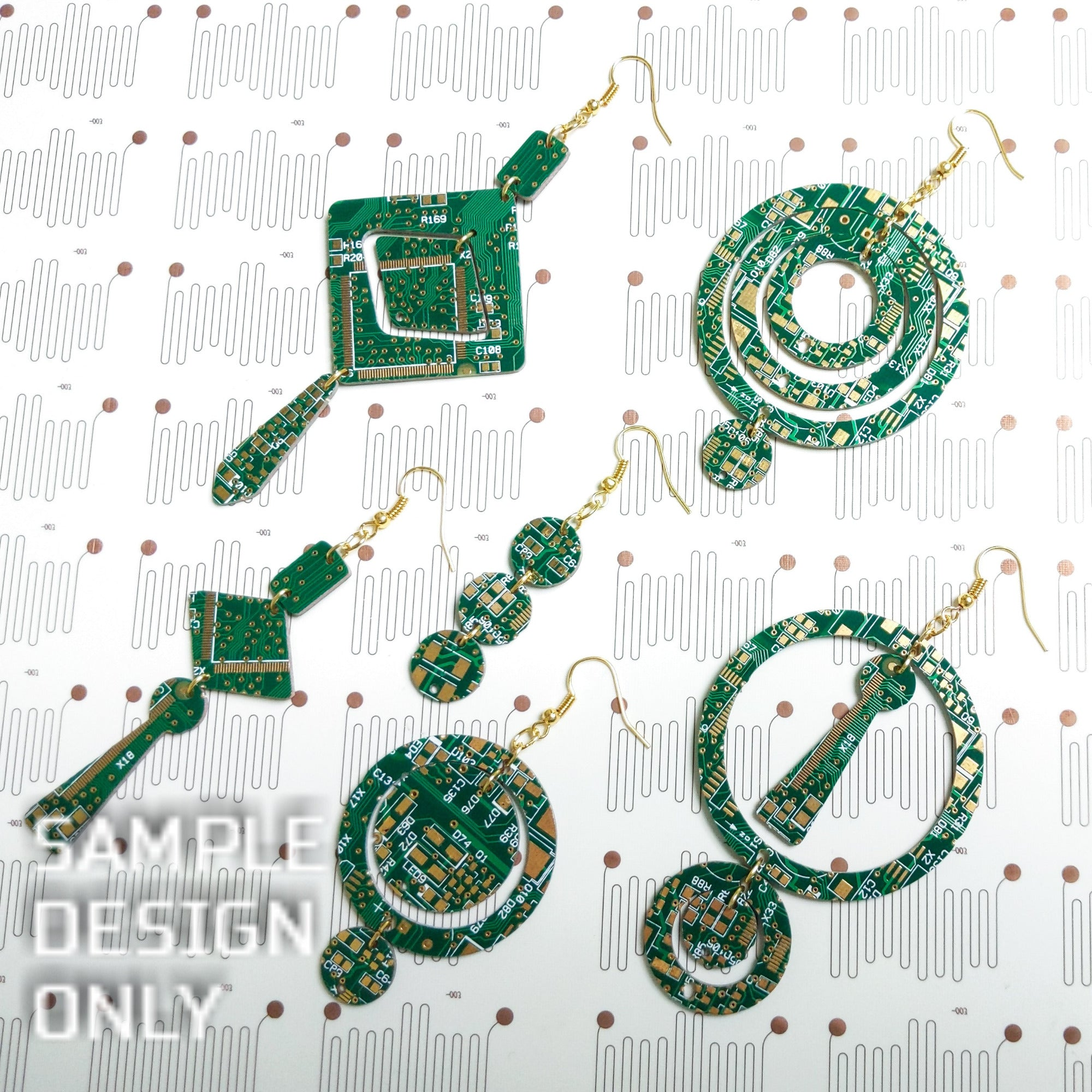 Make Your Own Circuit Board Earrings Kit - TechWears Ltd