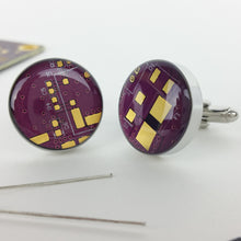 Electric Plum Circuit Board Cufflinks - REAL Circuit Board - 100% Recycled - by TechWears