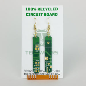 Green Circuit Board Earrings - REAL Circuit Board - 100% Recycled - by TechWears