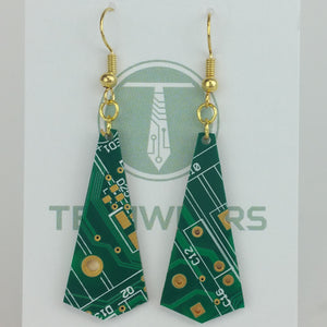 Green Geometric Circuit Board Earrings - REAL Circuit Board - 100% Recycled - by TechWears