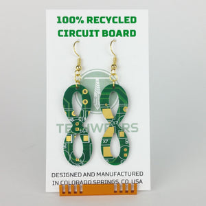 Infinity Circuit Board Earrings - REAL Circuit Board - 100% Recycled - by TechWears