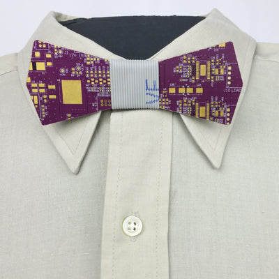 Electric Plum Circuit Board Bow Tie - REAL Circuit Board - 100% Recycled - by TechWears