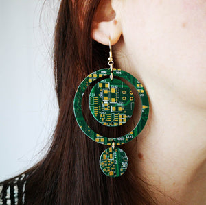 Green Cascading Circles Circuit Board Earrings - REAL Circuit Board - 100% Recycled - by TechWears