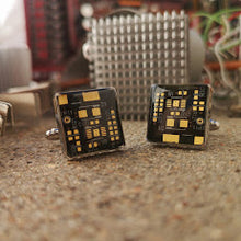Black and Gold Circuit Board Cufflinks - REAL Circuit Board - 100% Recycled - by TechWears