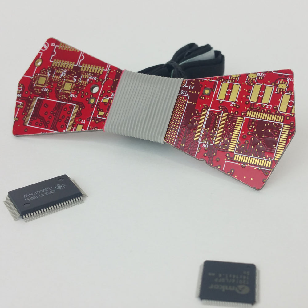 Red Circuit Board Bow Tie - REAL Circuit Board - 100% Recycled - by TechWears