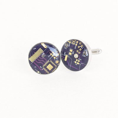 Purple and Gold Circuit Board Cufflinks
