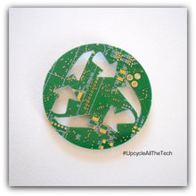 Circuit Board Recycle Symbol Magnet - REAL Circuit Board - 100% Recycled - by TechWears
