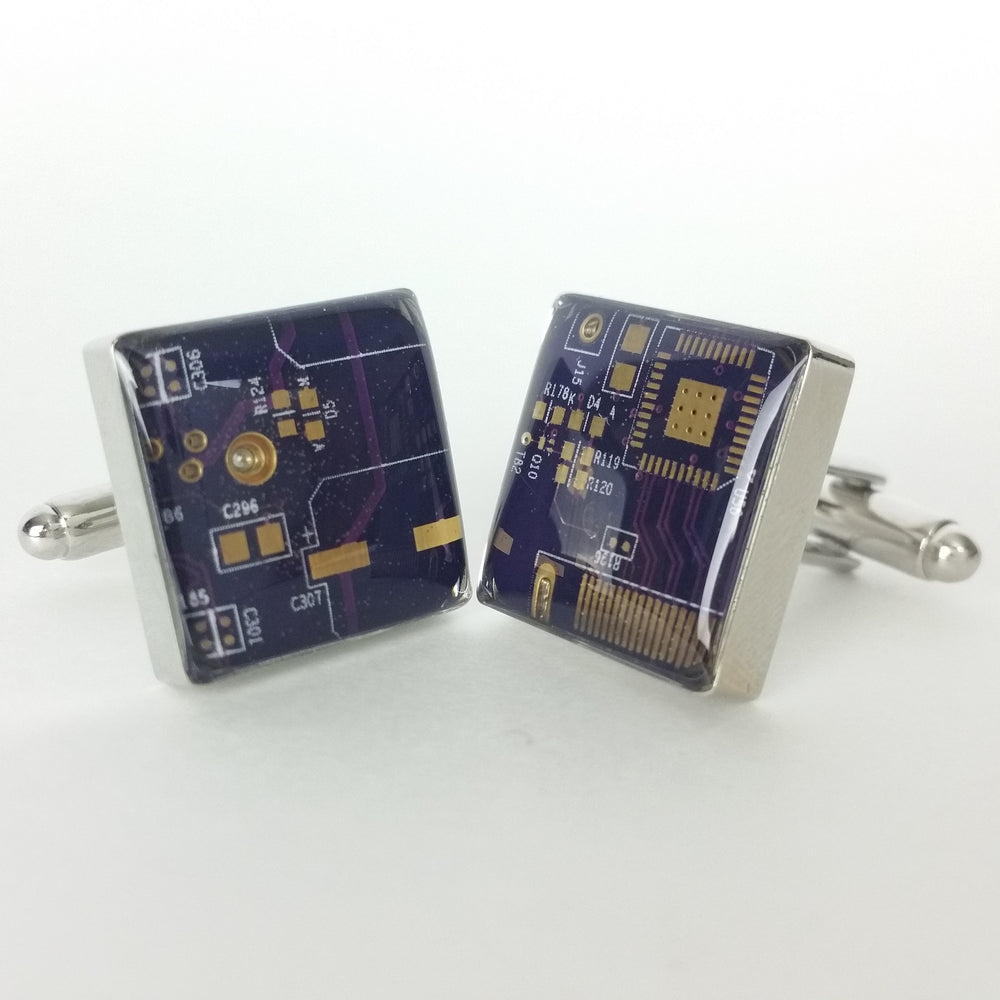 Purple and Gold Circuit Board Cufflinks - REAL Circuit Board - 100% Recycled - by TechWears
