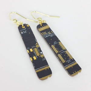 Black Circuit Board Earrings - REAL Circuit Board - 100% Recycled - by TechWears