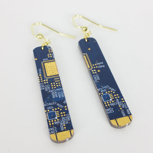 Blue Circuit Board Earrings - REAL Circuit Board - 100% Recycled - by TechWears
