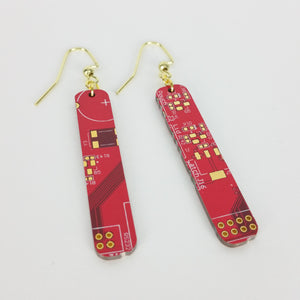 Red Circuit Board Earrings - REAL Circuit Board - 100% Recycled - by TechWears