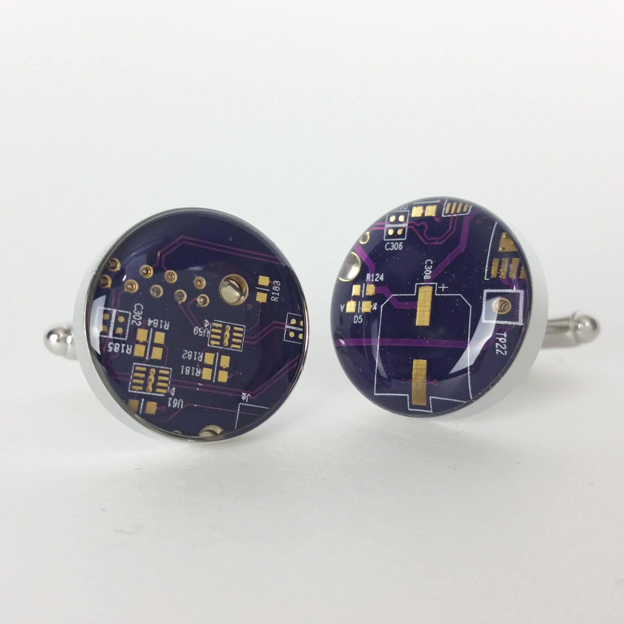 Techwearspurple And Gold Circuit Board Cufflinks Quartz Clock Purple Real 100 Recycled By