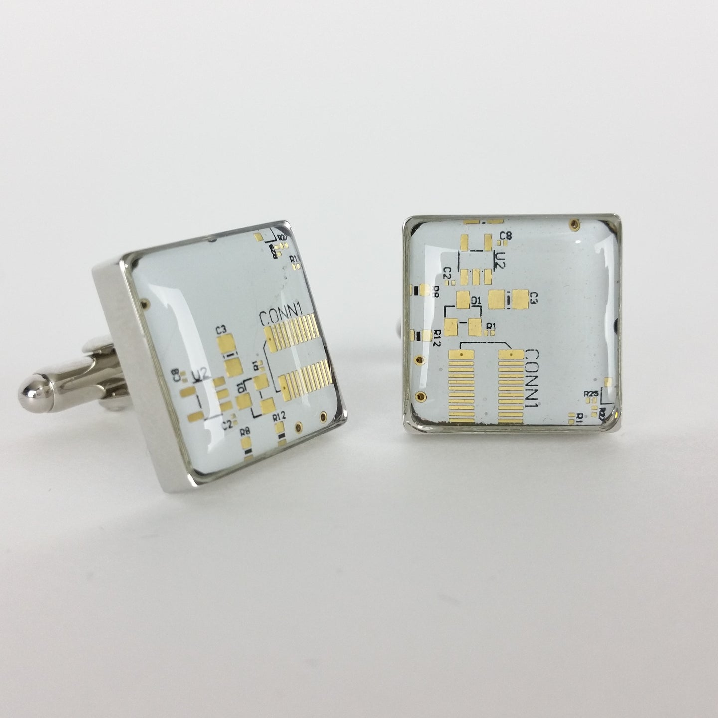 Rare White and Gold Circuit Board Cufflinks - REAL Circuit Board - 100% Recycled - by TechWears