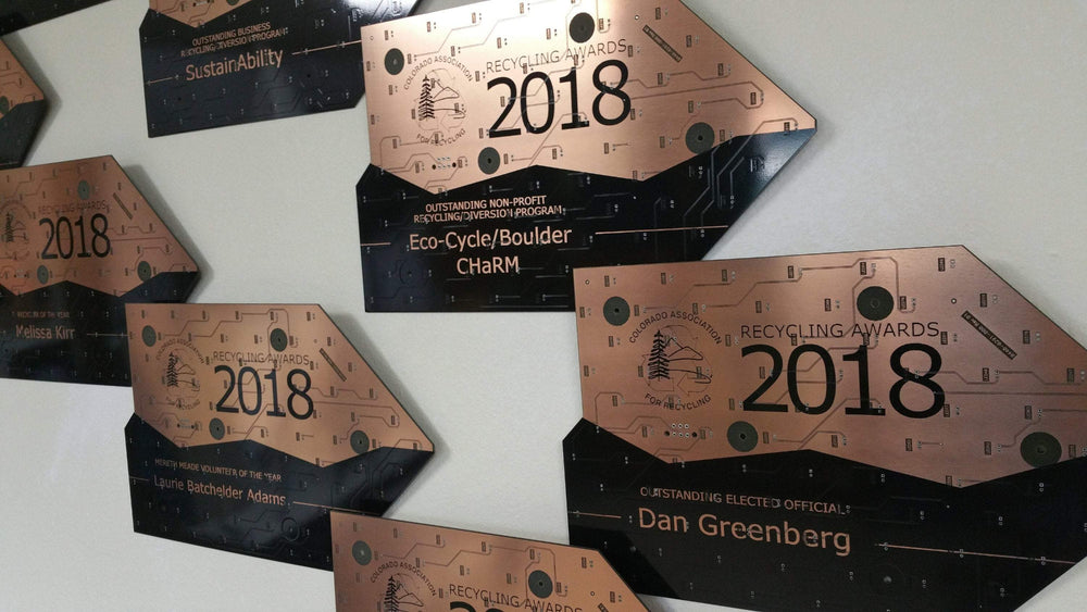 Upcycled Circuit Board Award Plaques - Laser Engrave Your Own Design on Piano Black Recycled Circuit Boards with Copper