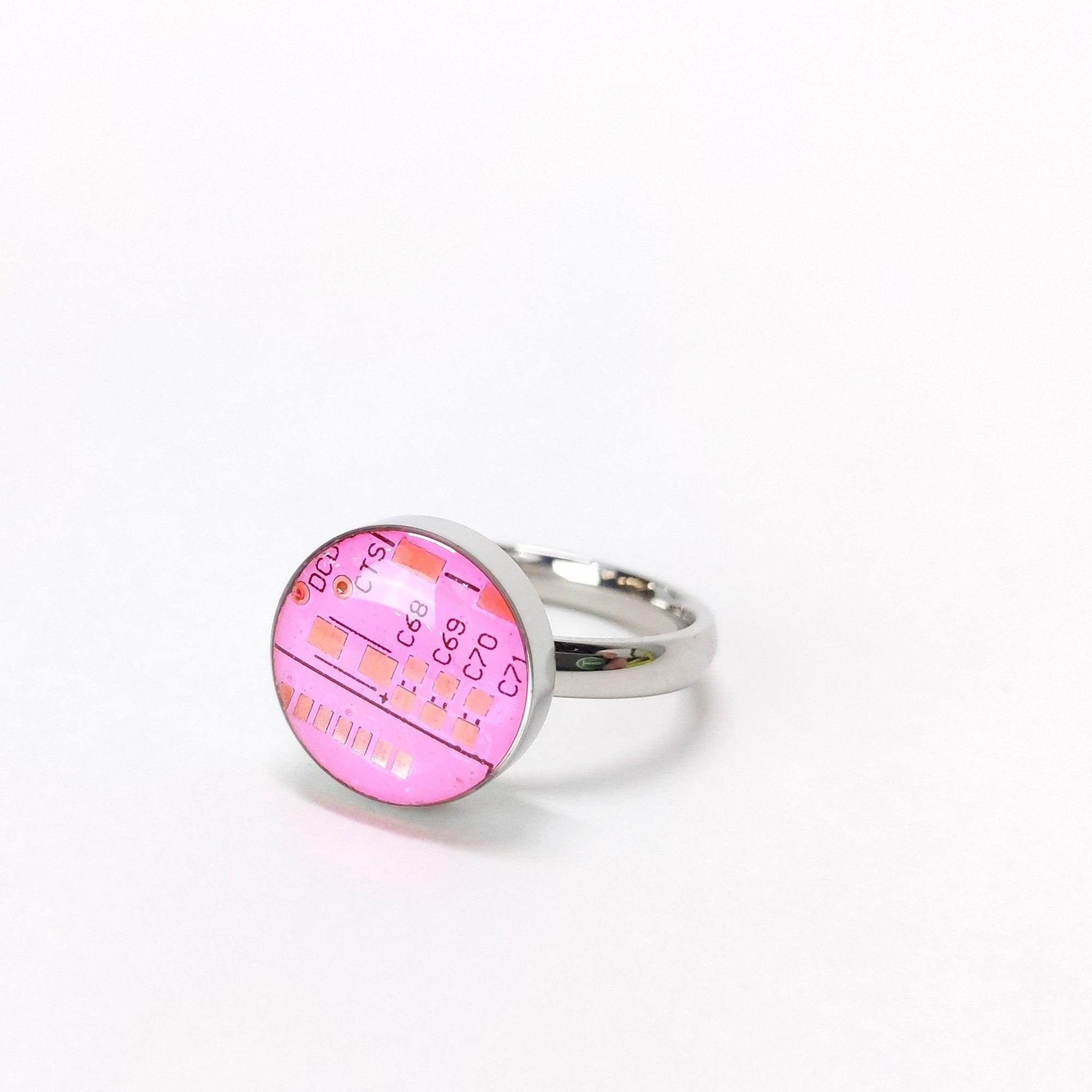 Pink Circuit Board Ring - TechWears Ltd