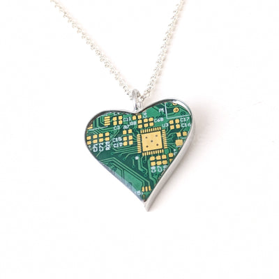 Circuit Board Heart Pendant with Silver Chain