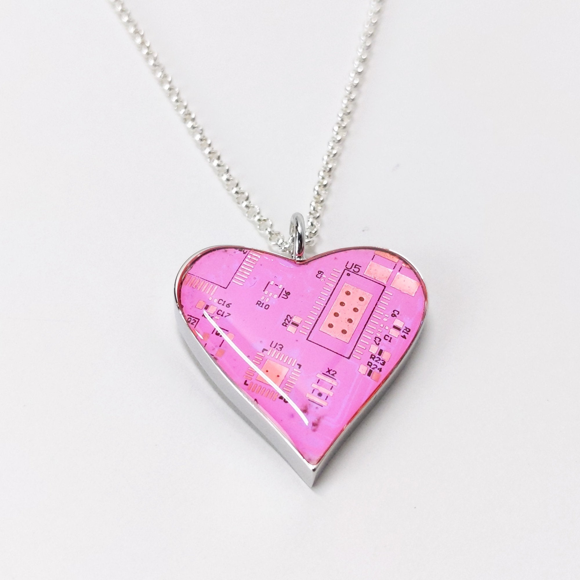 Circuit Board Pink Heart Pendant with Silver Chain - TechWears Ltd