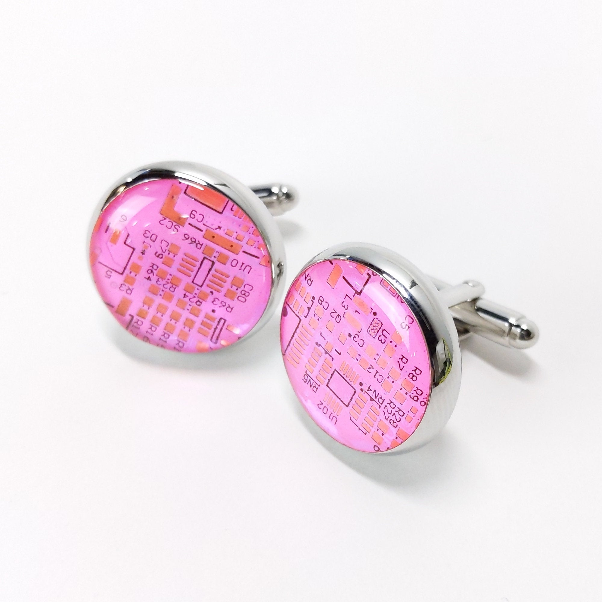 Circuit Board Pink Circuit Board Cufflinks - TechWears Ltd