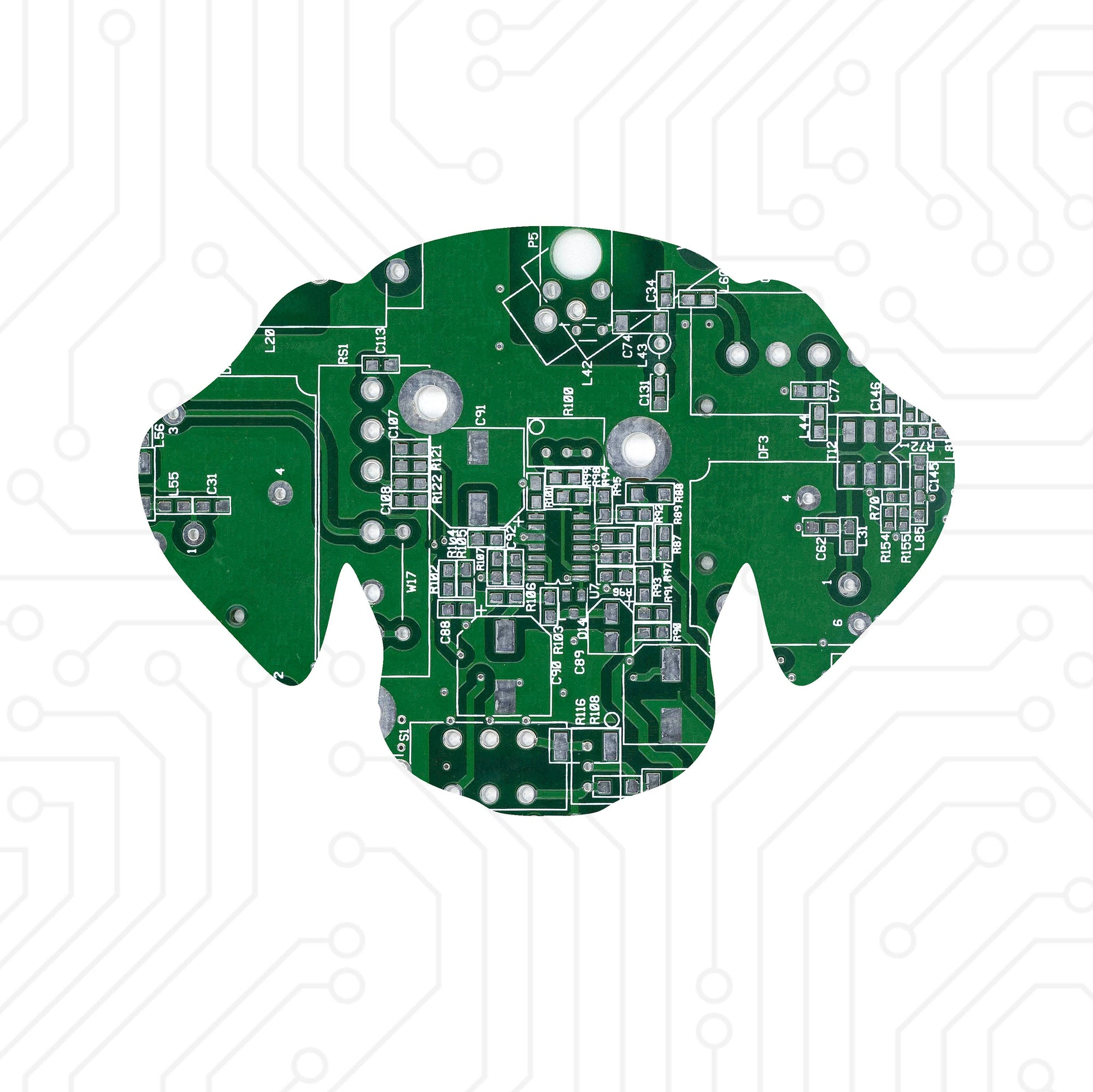 Circuit Board Dog Head - TechWears Ltd