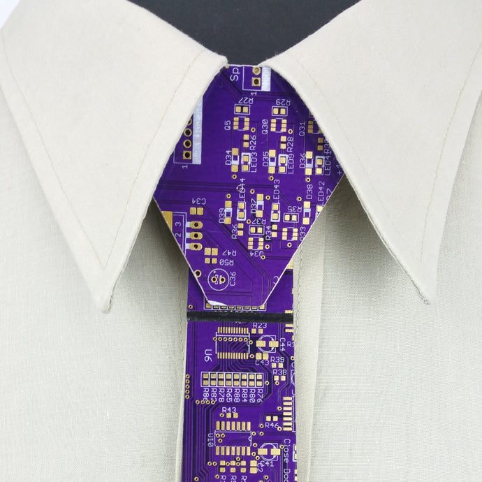 Iridescent Purple Circuit Board Necktie - ULTRA RARE - REAL Circuit Board - 100% Recycled - by TechWears