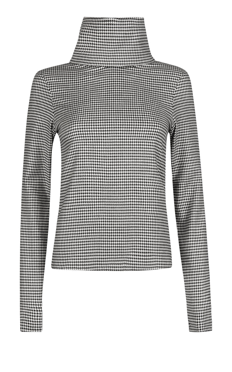 Dogwood Houndstooth Woven Rollneck