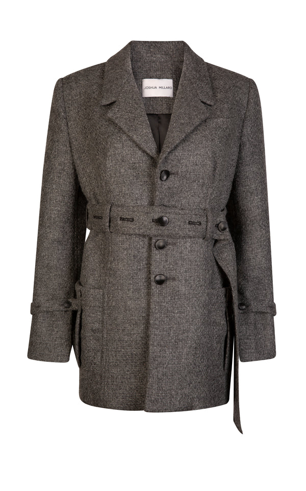 Ewe Belted Basket Weave Wool Jacket