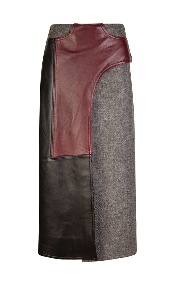 Alder Leather and Wool Panelled Wrap Midi Skirt