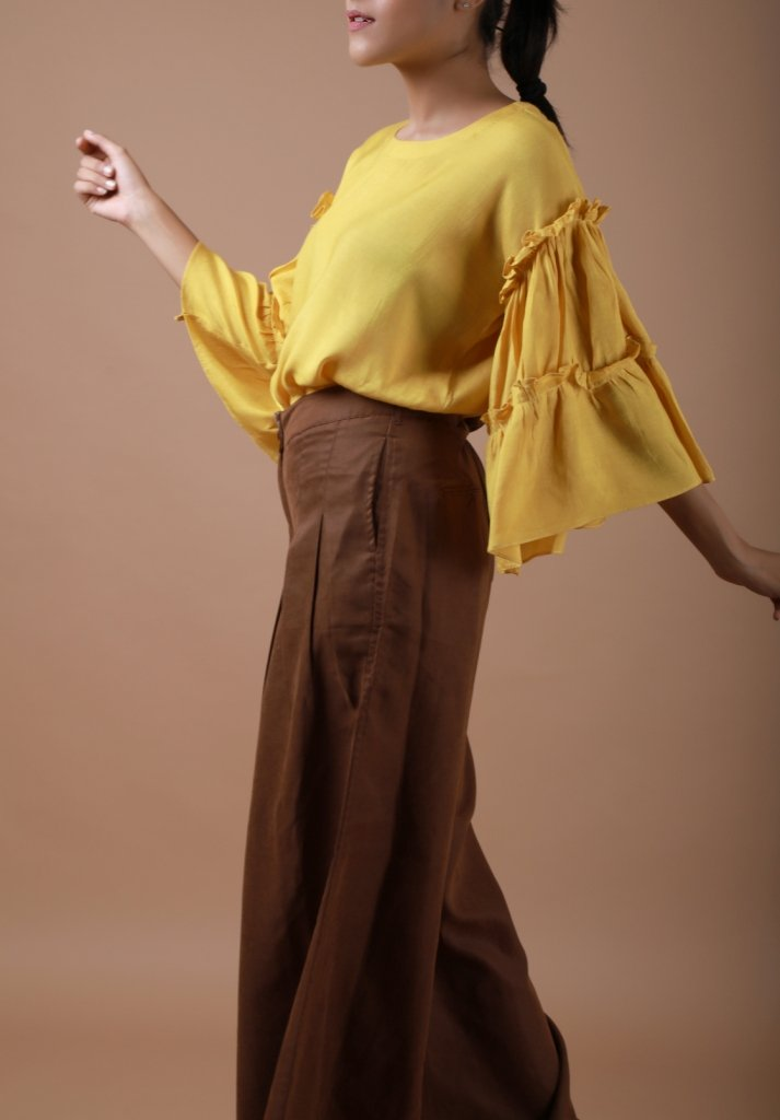 Spicy Mustard Ruffled Sleeves Top