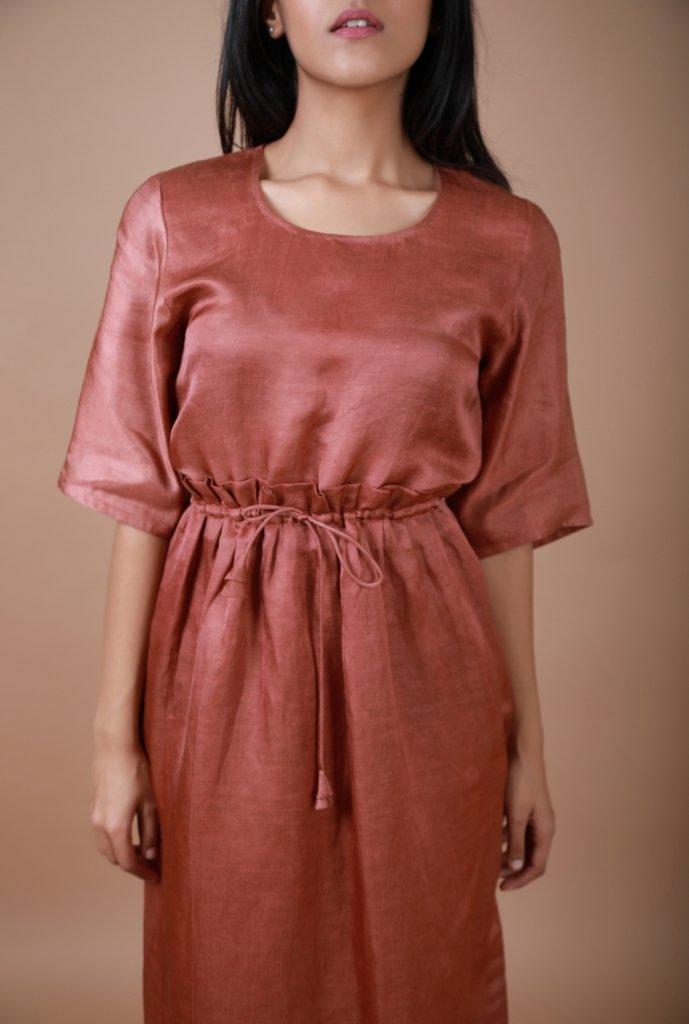 Brick Dust Pleated Waist Tunic