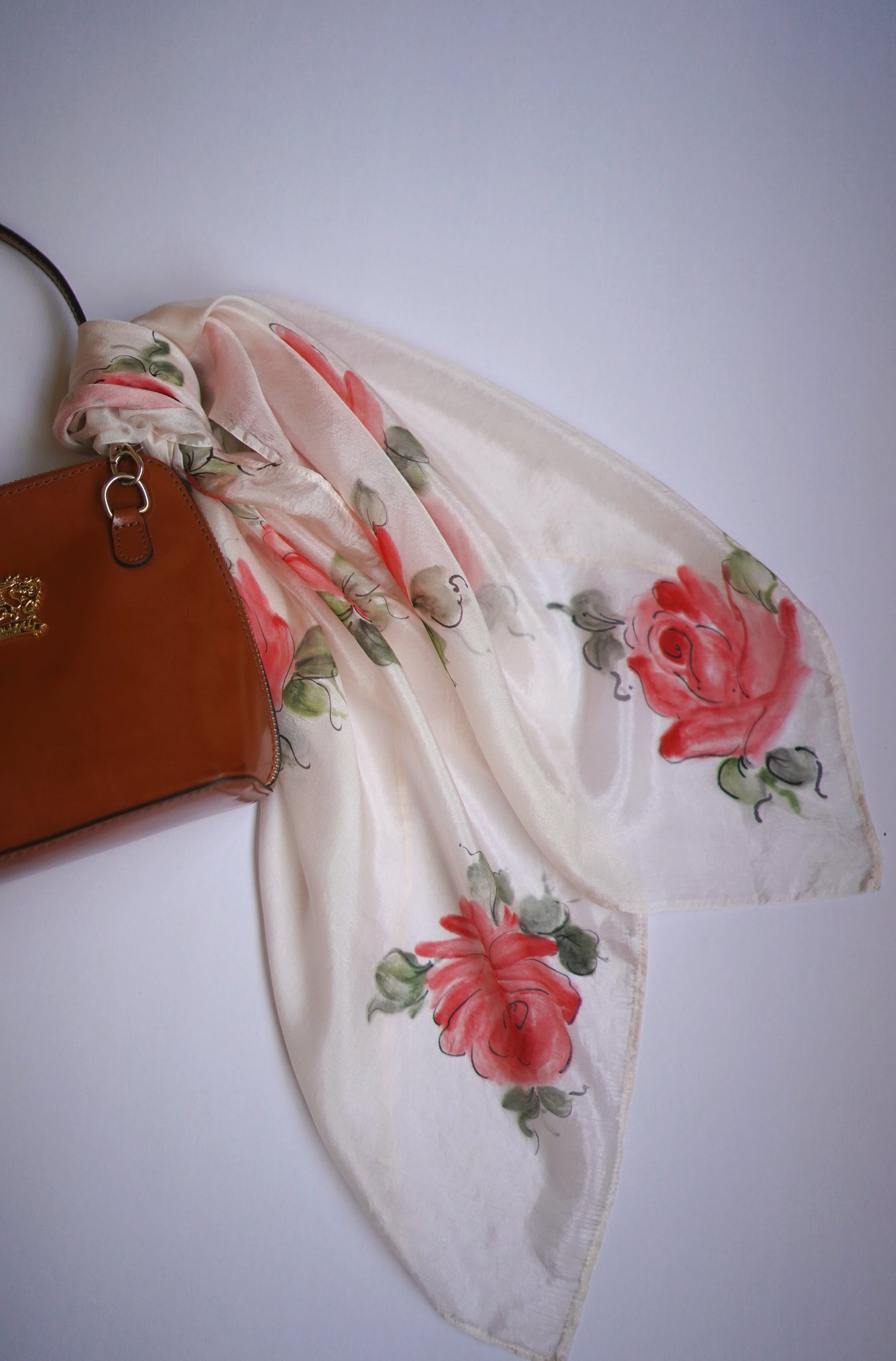 Soft Pink Roses Silk Scarf