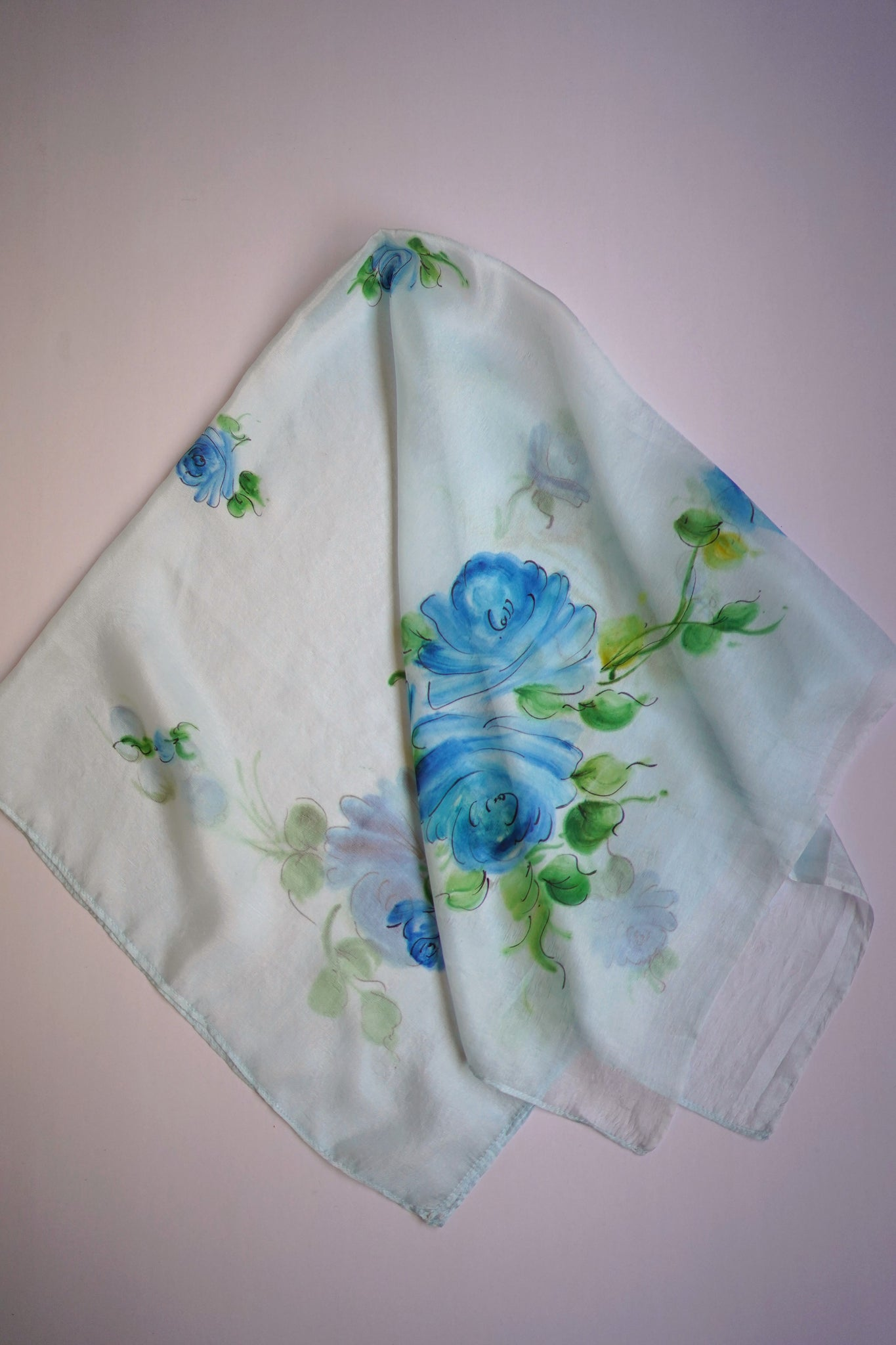 Illusion Blue Roses Silk Scarf