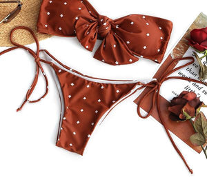 Self-tie Dotted Bikini