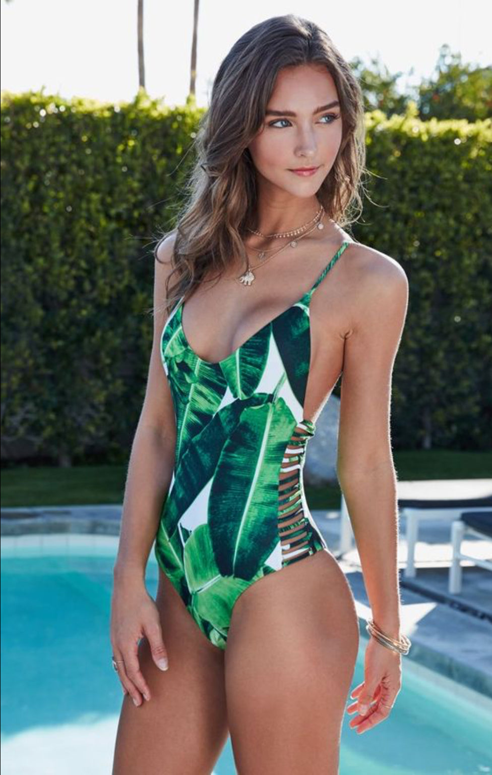 Green Leaves One Piece Swimsuit