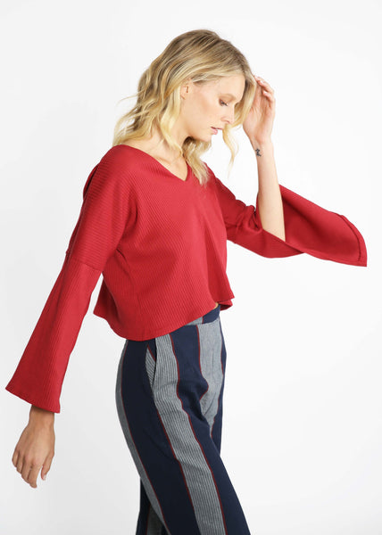 Discourse Ethical Womenswear Olivia sweater red navy Nova Trouser stripe cotton