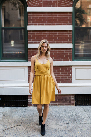 Spaghetti Strap Gold Skater Dress | Discourse NYC