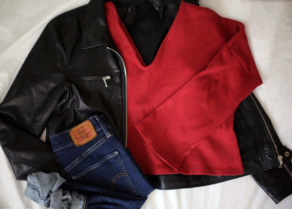 Discourse Red Olivia with Leather Jacket and Jeans