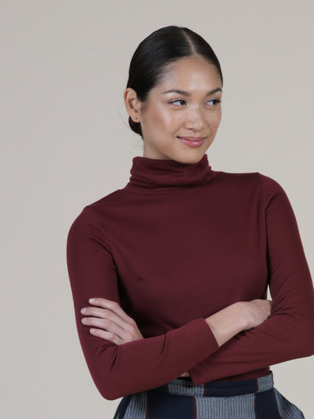 Turtleneck bodysuit with snaps