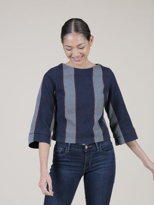 stripe boxy top blouse
