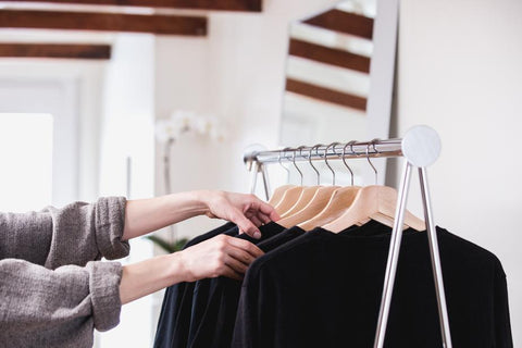 Affordable ethical clothing on a rack