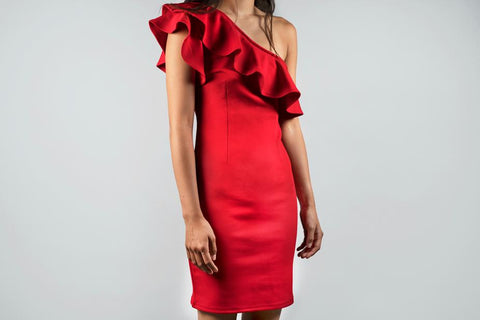 Woman wearing red sheath dress