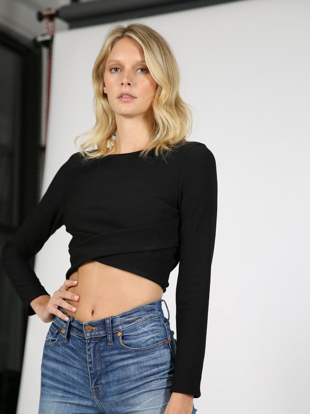 Black crop top with sleeves