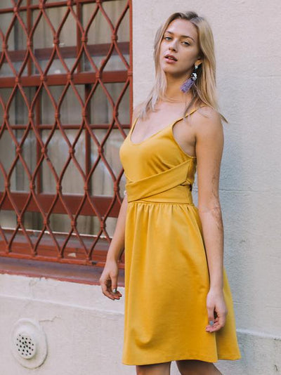 "Yellow Skater Dress on 5'9"" Model 1"