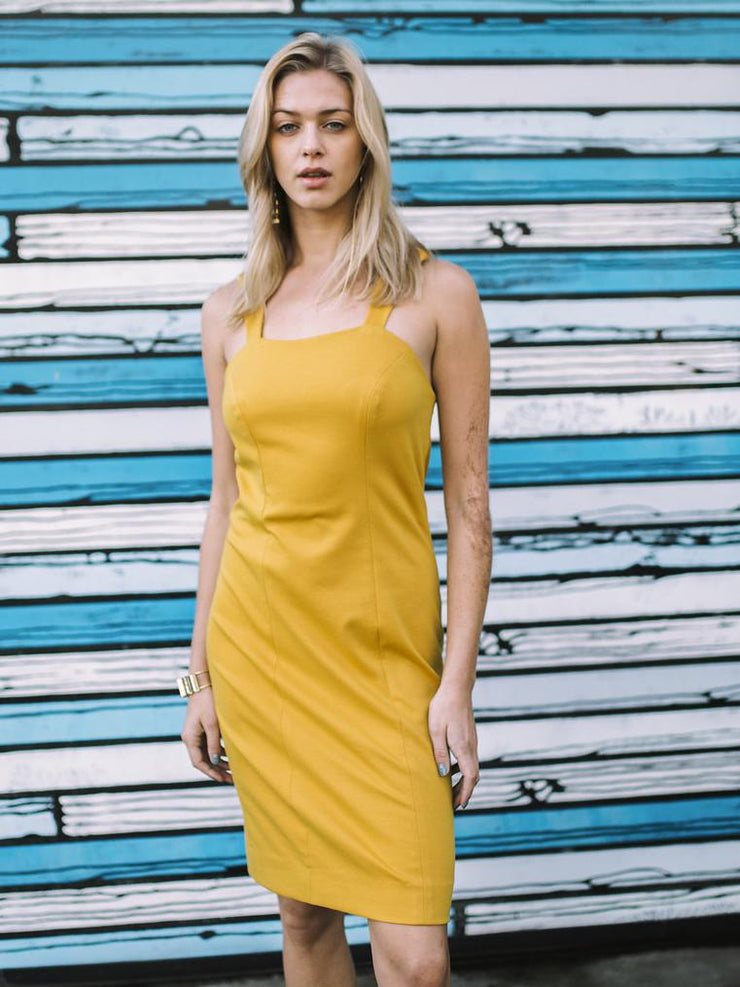 Gold sheath dress