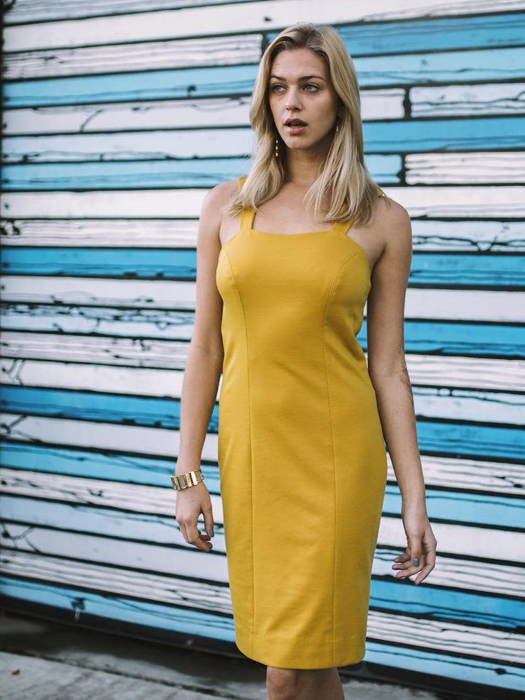 Yellow sheath dress