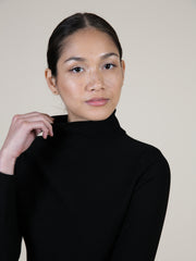 "5""10 Model in Black Turtleneck Dress"