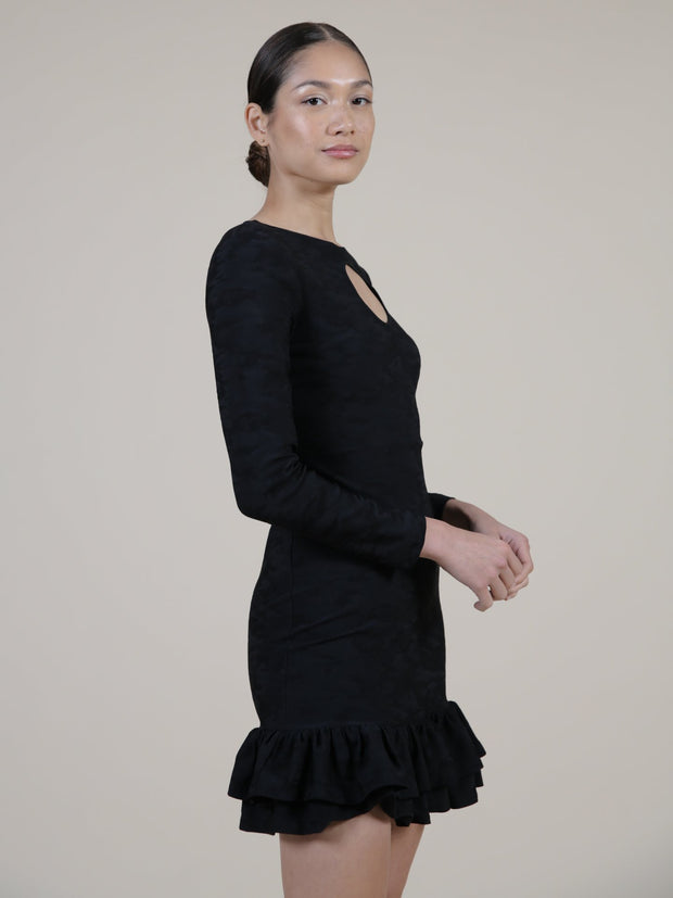 Black ruffle dress on model