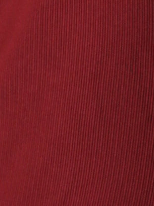 red rib knit fabric detail