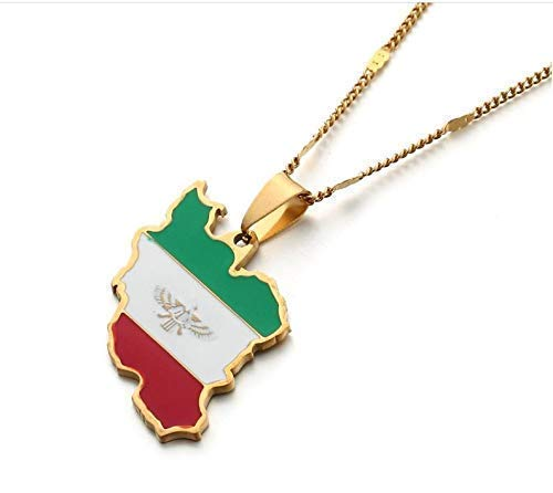 Iran Map Necklace Best Persian Gift - Map Pendant and 19.6 inches Chain