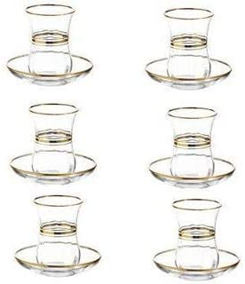LAV Elegant Turkish Tea Glasses and Saucers